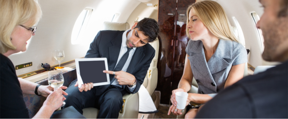 Business People working in Charter aircraft