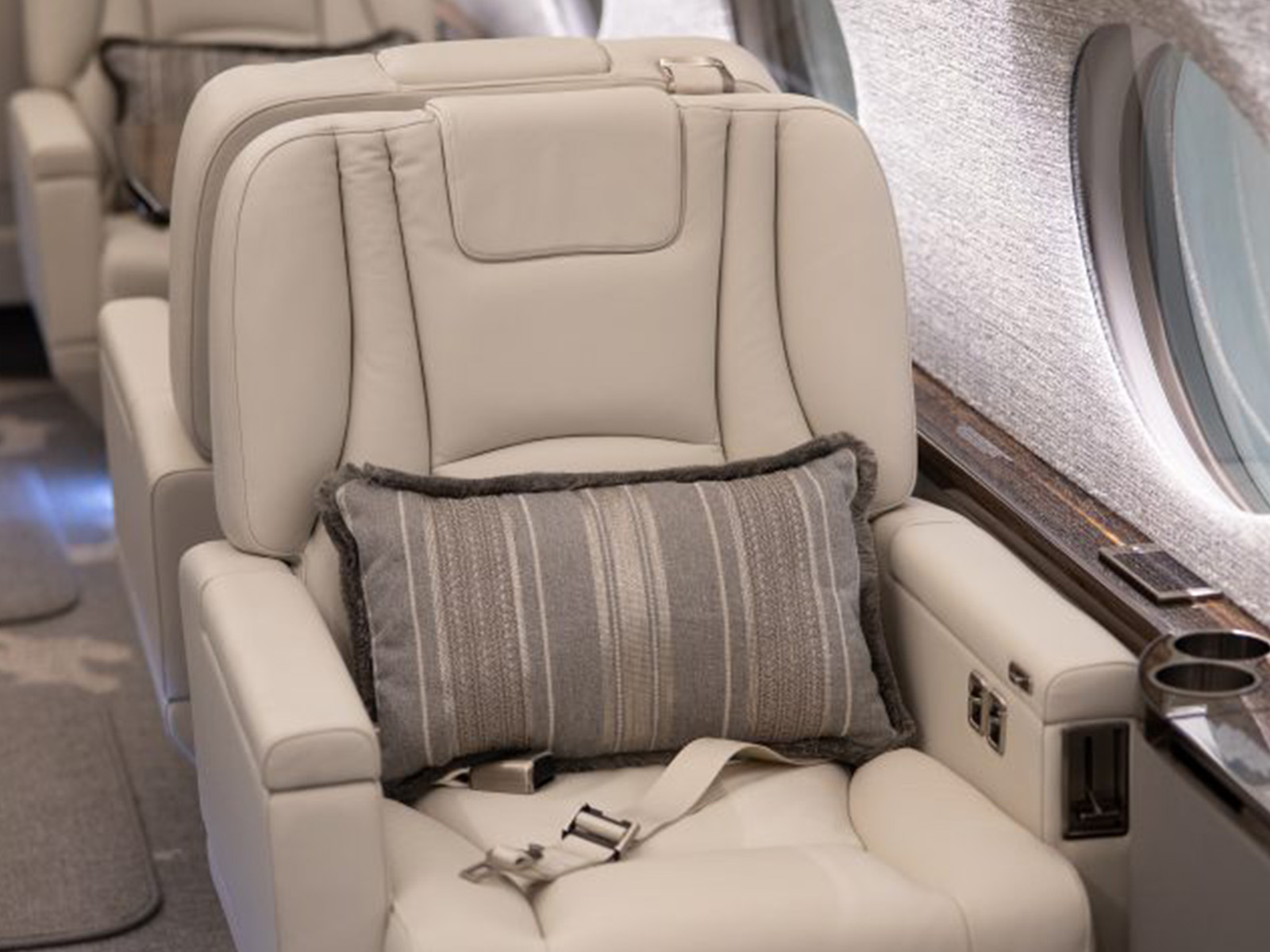 aircraft chair with a pillow