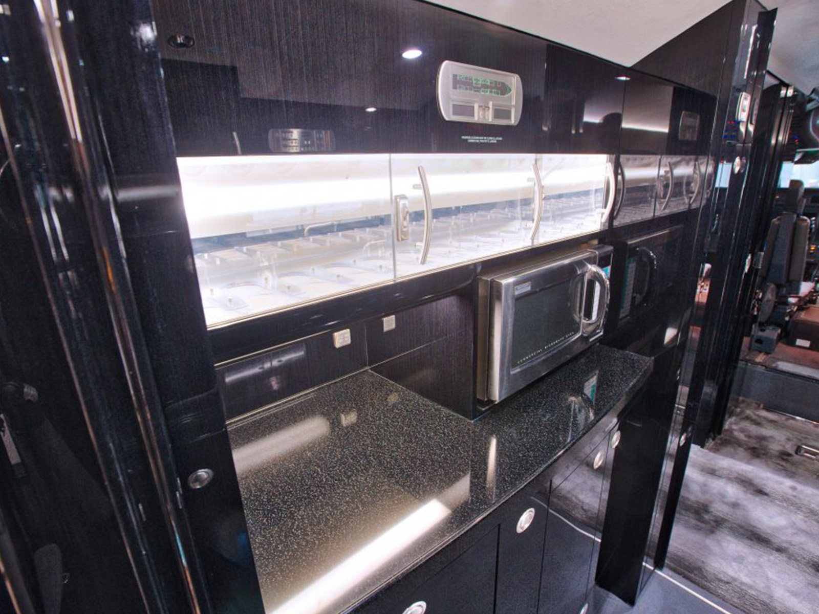 cabin countertop and microwave