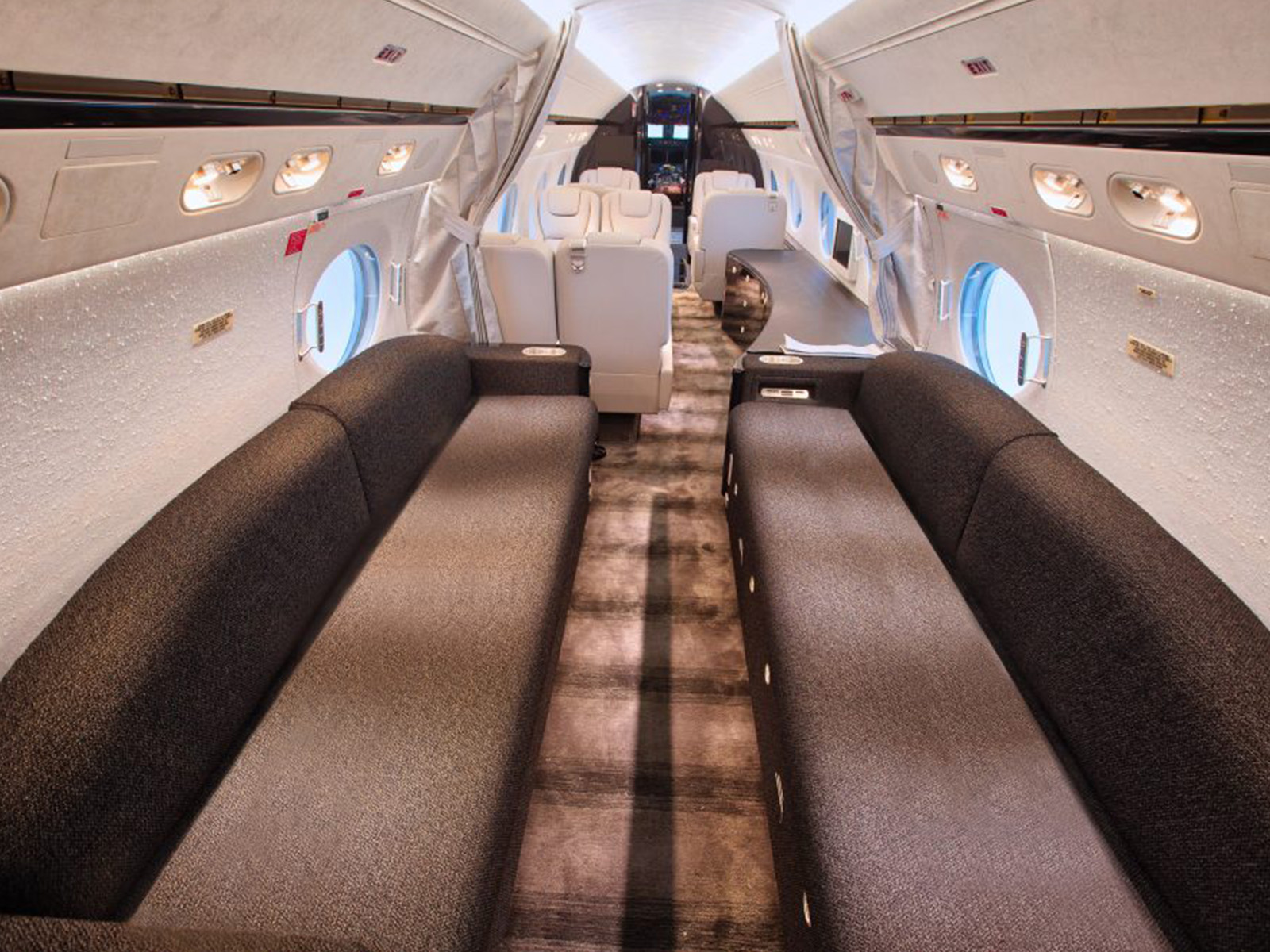 full aircraft cabin with sofas