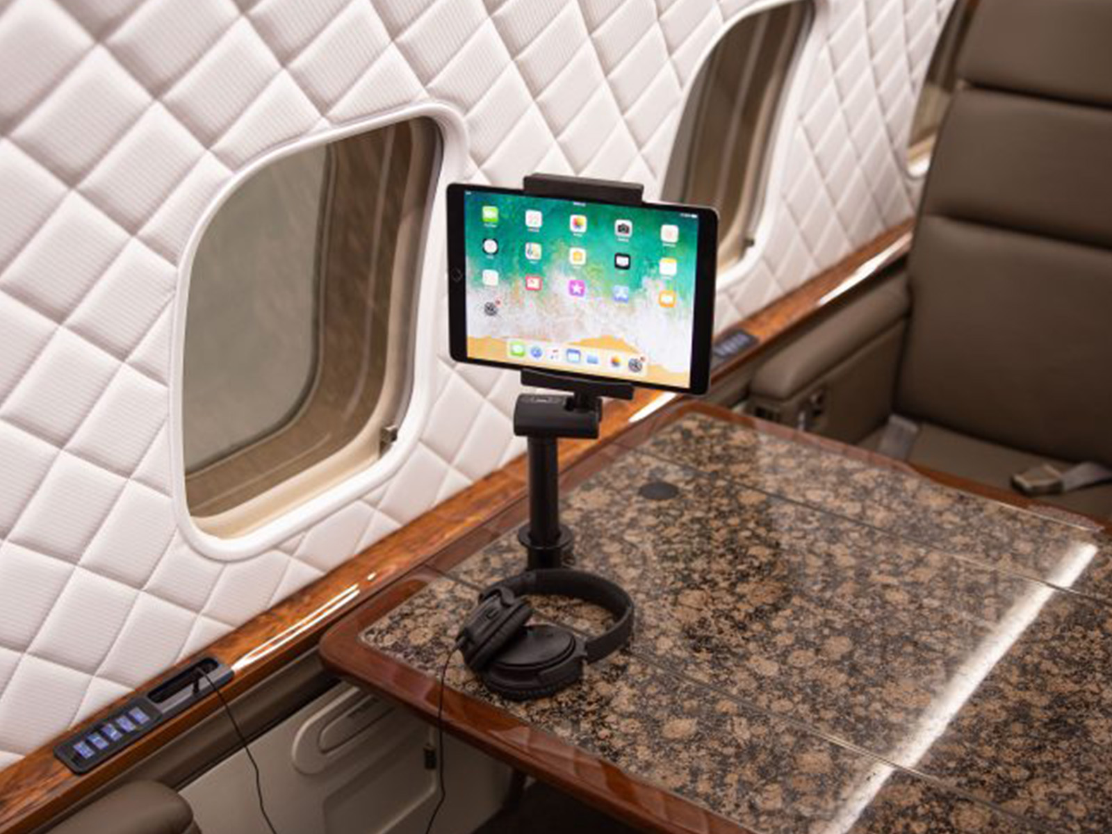 iPad resting in an ergonomic stand